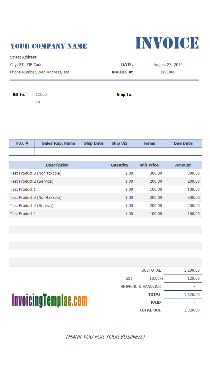 Invoice template with 4 columns for Line balancing template