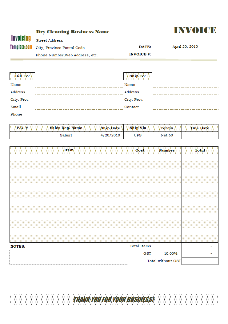 Service Invoice Template for Canada