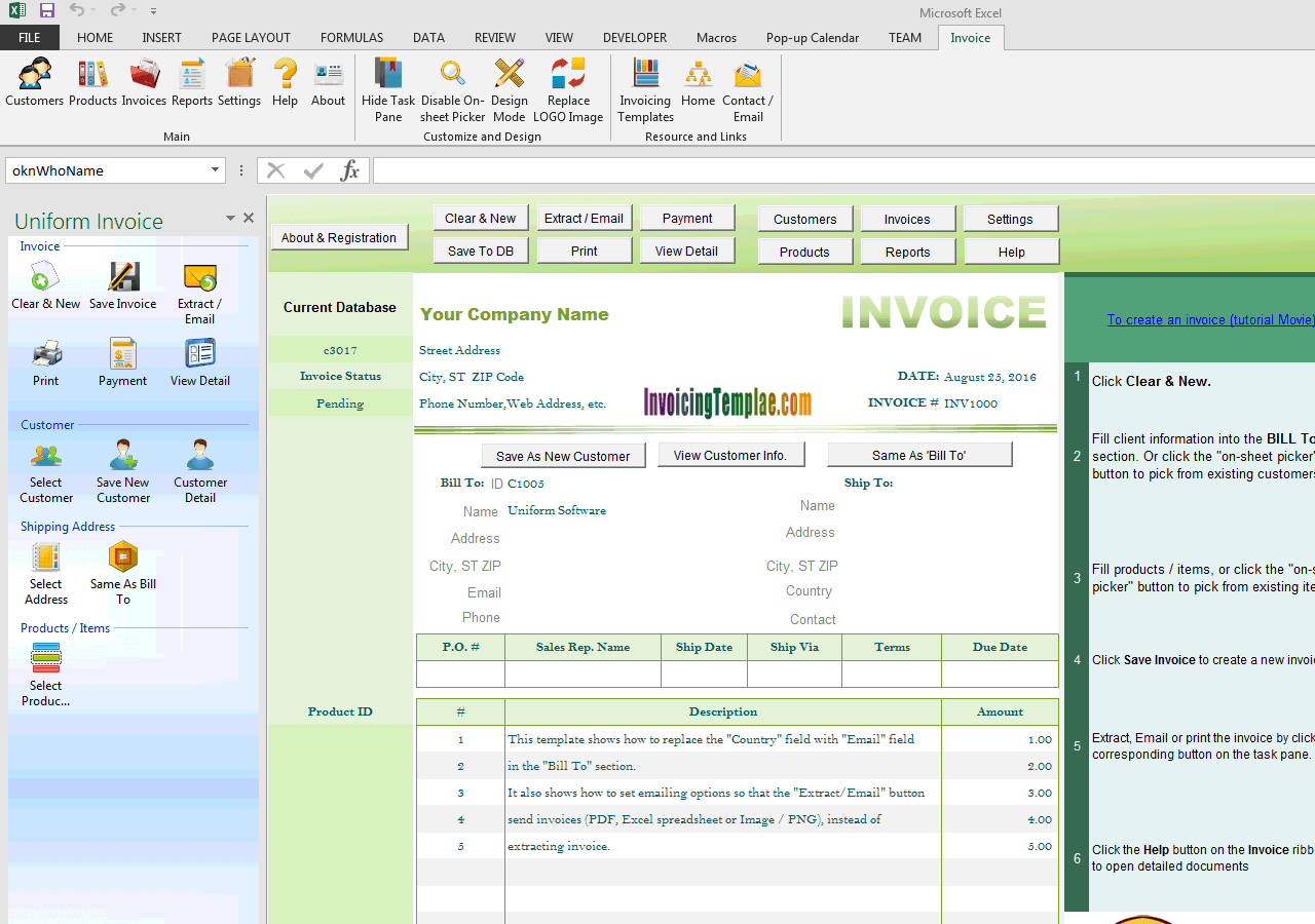 Invoicing Template to Email (UIS Edition)