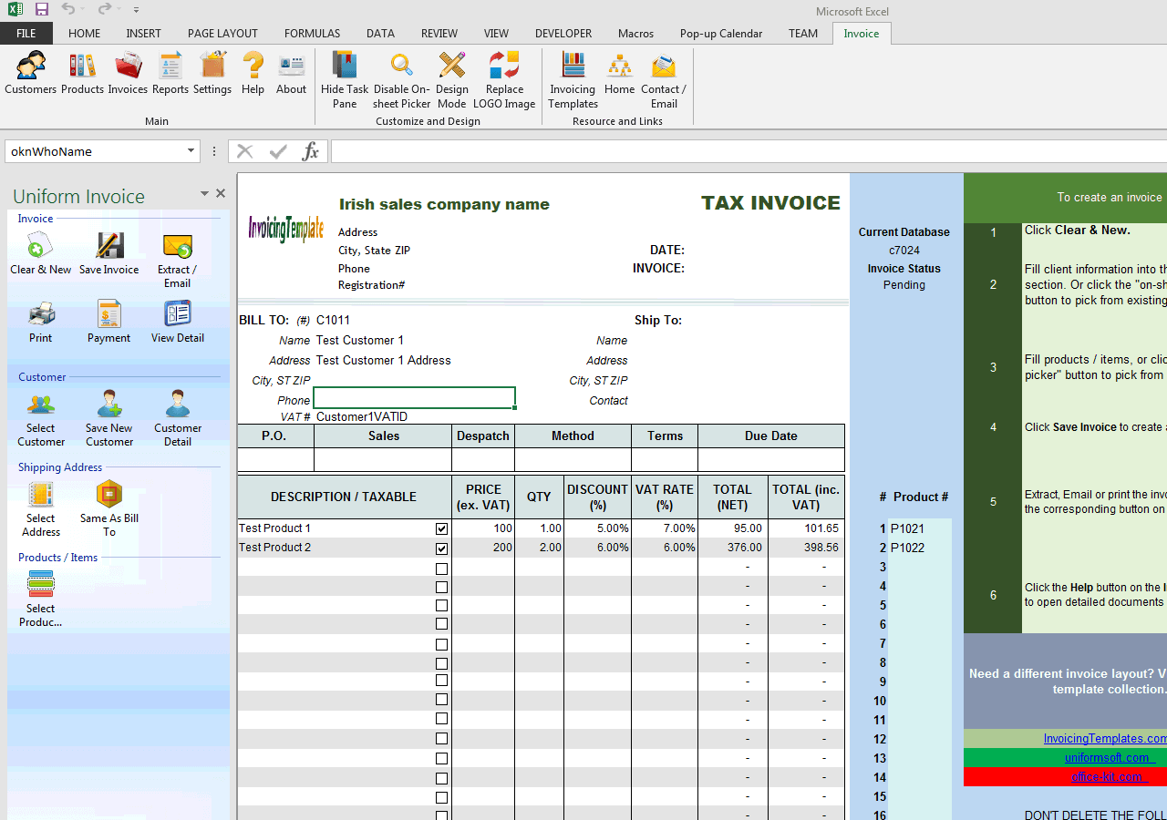 irish sales vat invoice template