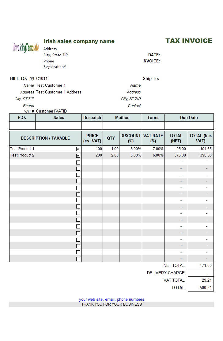 Irish Sales VAT Billing Form