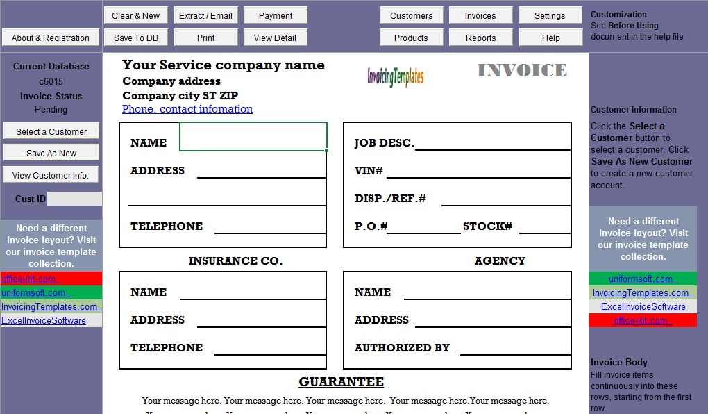 sample format for job invoicing tax column