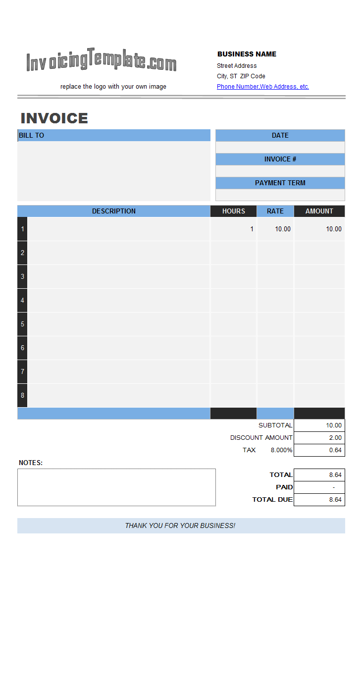 excel invoice template 2010  Multiple-page Excel Invoice Templates