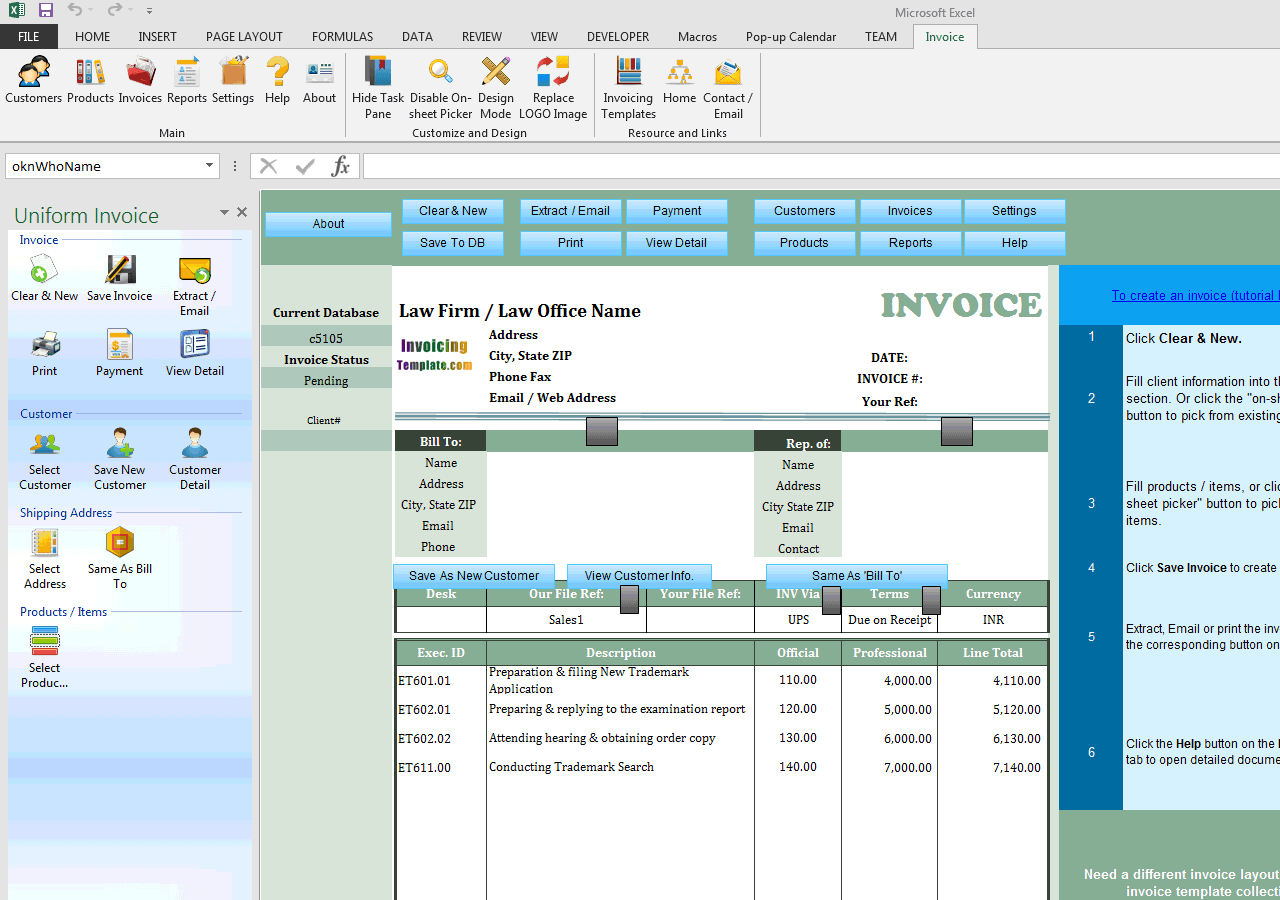Law Firm Invoice Template Indian INR Currency - Invoice software in india