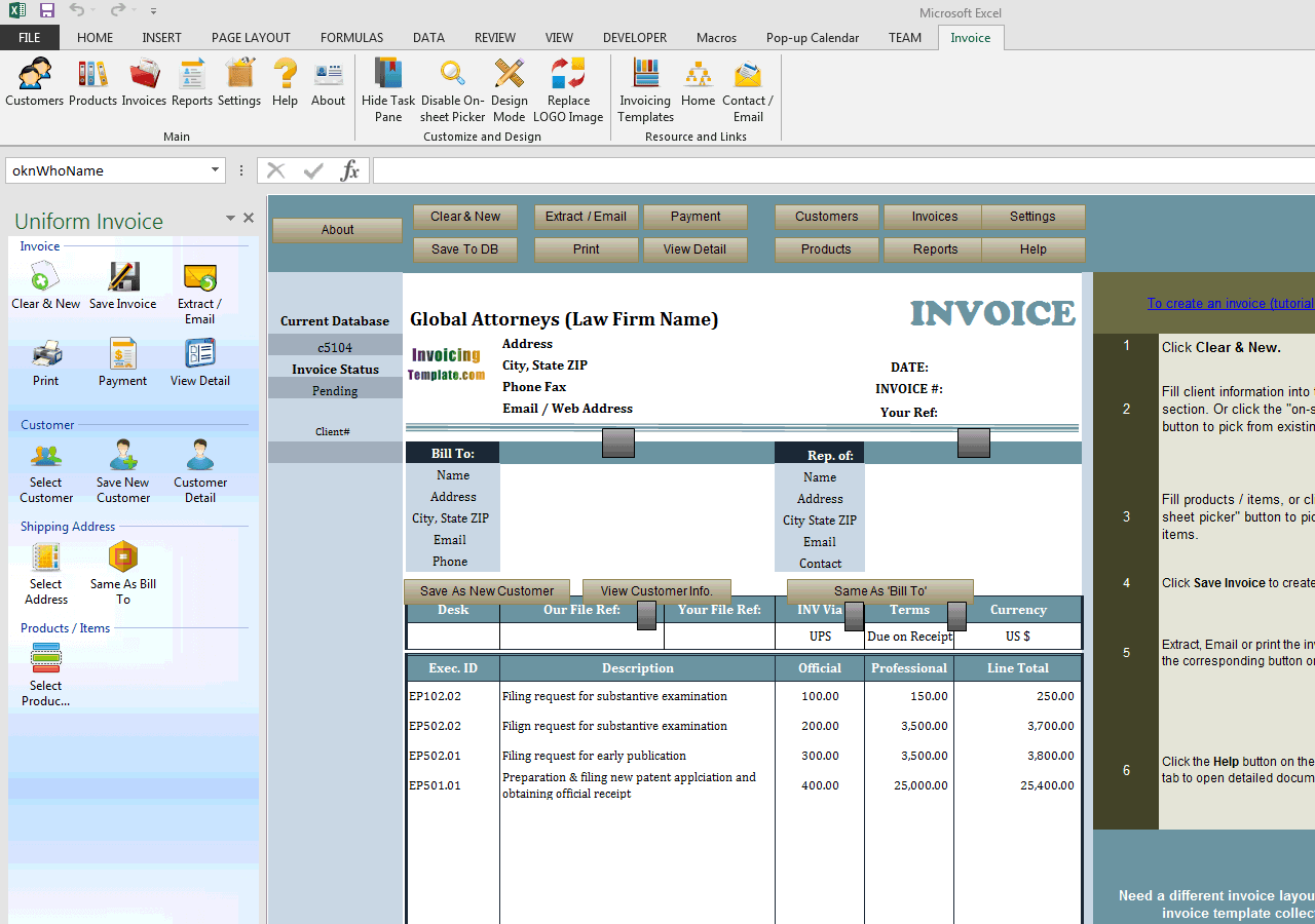 law firm invoice template