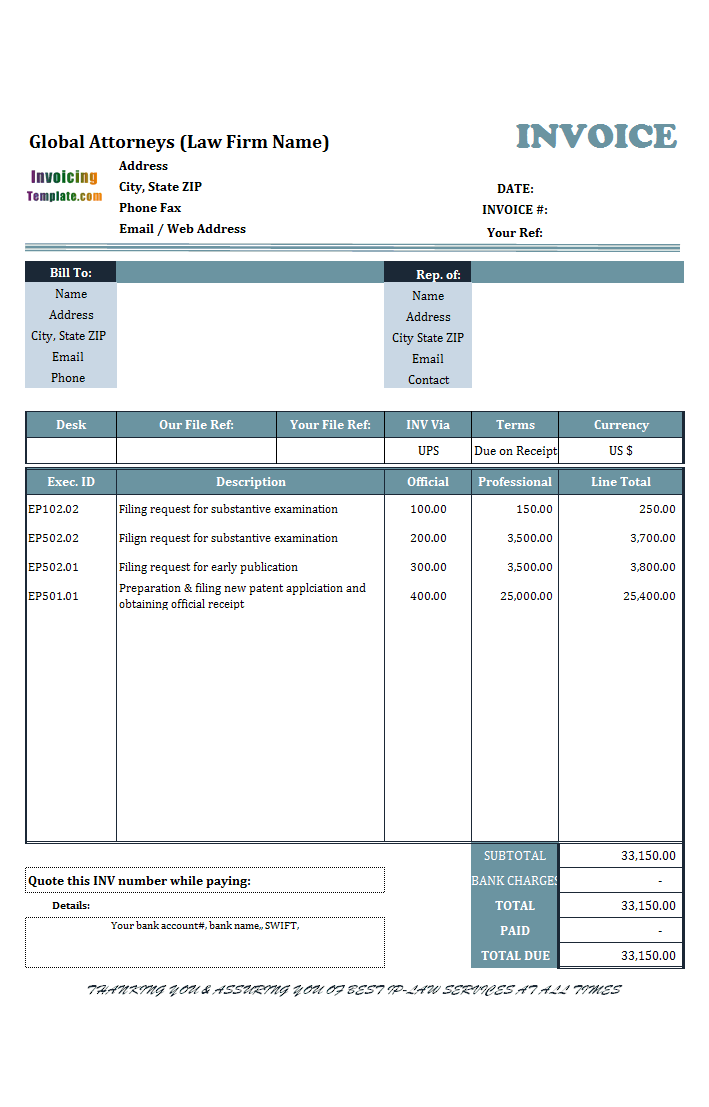 excel legal invoice template  Sample Legal Invoice in Excel for Services Rendered