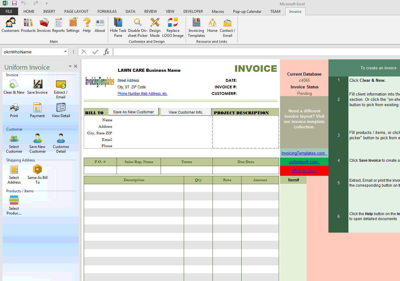 lawn care invoice template, Invoice templates