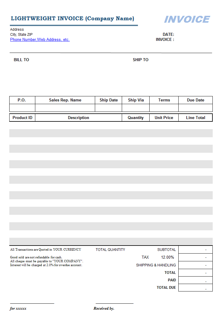 Lightweight Sales Invoice Template