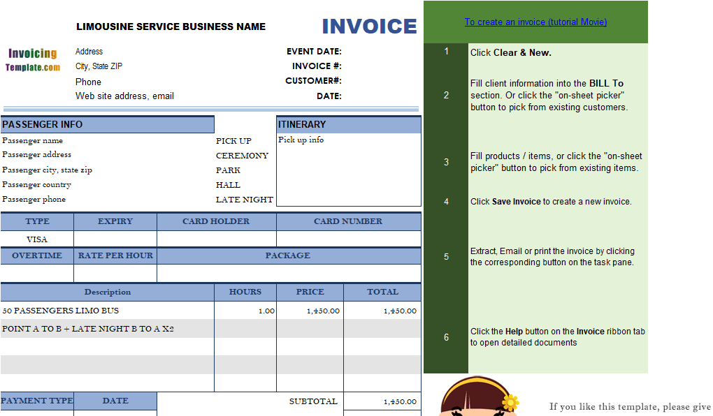 Estimate templates 20 results found for Limo receipt template
