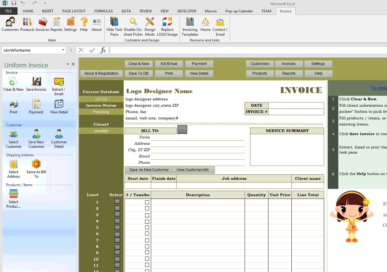 logo design invoice sample