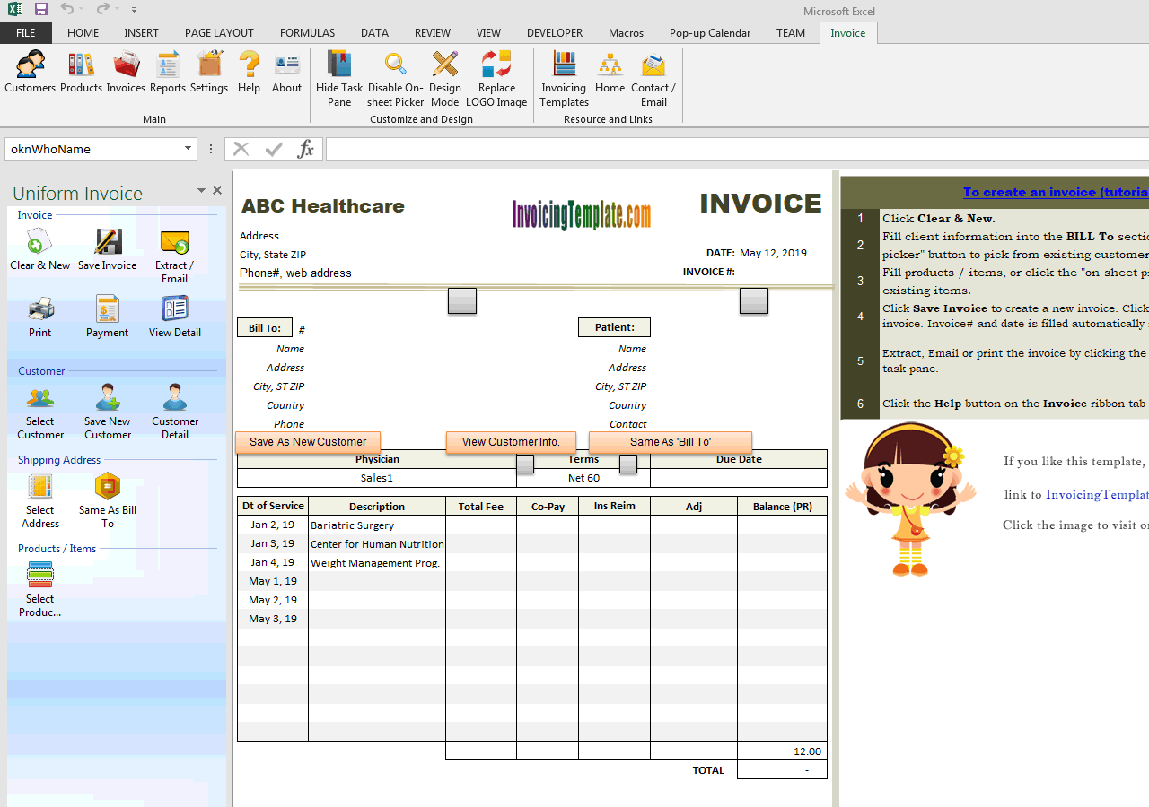 Medical Invoice Template 1