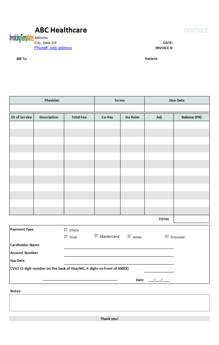 Medical Invoice Template - Patient invoice template