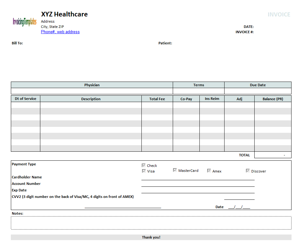 Medical Invoice Template 2 – Medical Receipt Template