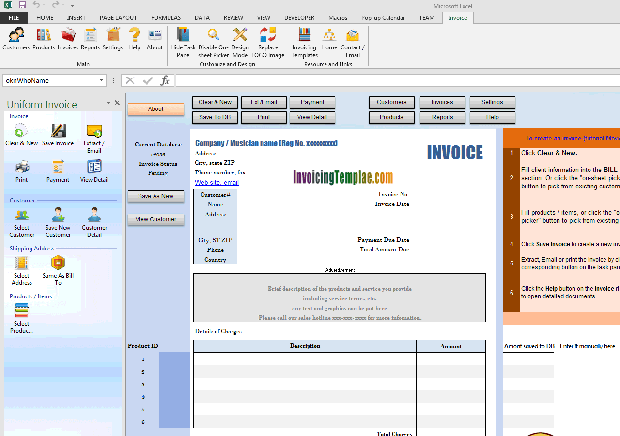 Musician Invoice Template (UIS Edition)