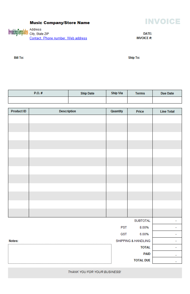 Music Store Invoicing Form (Retail)