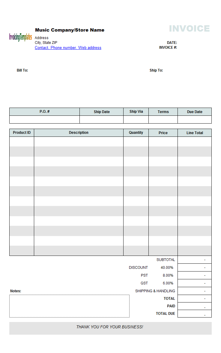 Music Store Invoicing Sample Wholesale - Proforma invoice template pdf online sports store