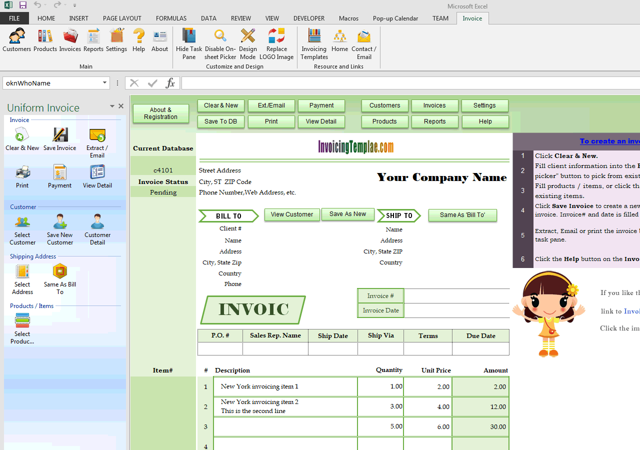 Invoicing Template with Watermark of New York (IMFE Edition)