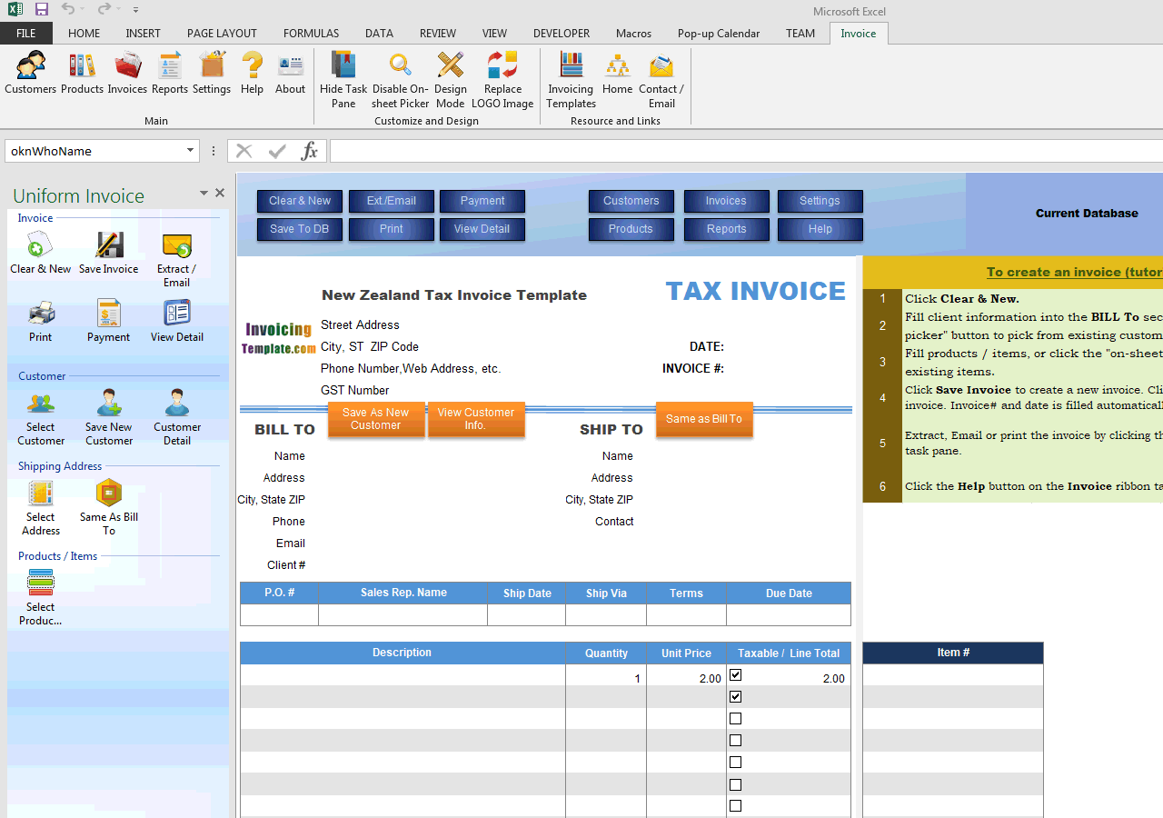 New Zealand Tax Invoice Template - Invoice creation software free