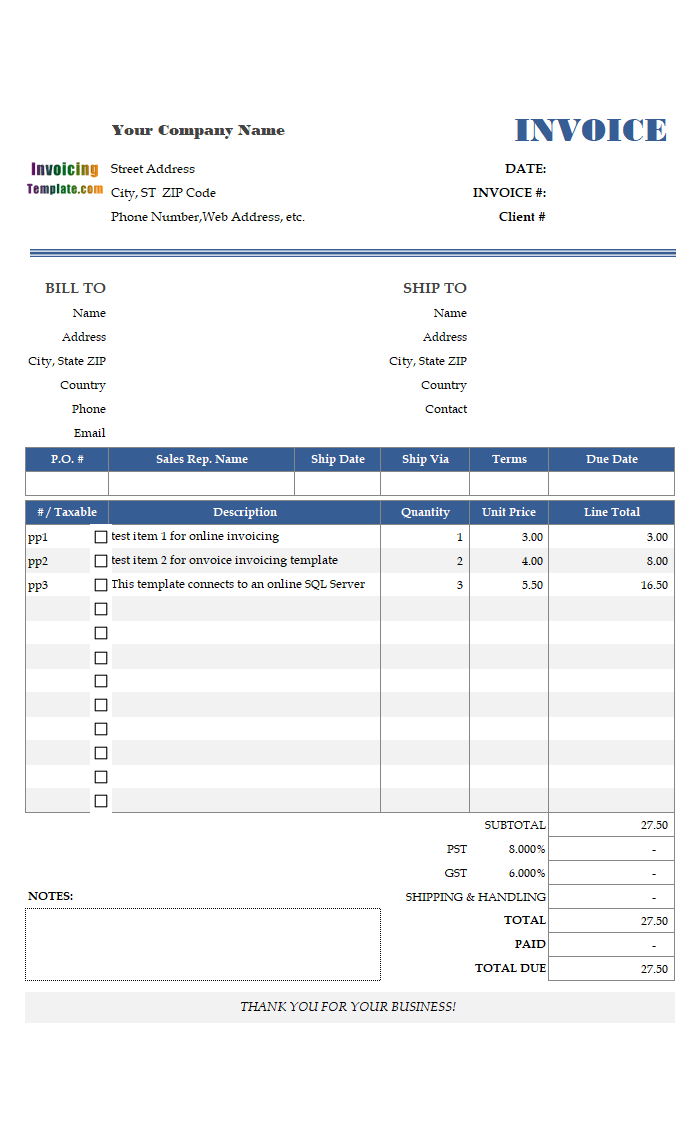 sample invoice template for online invoicing