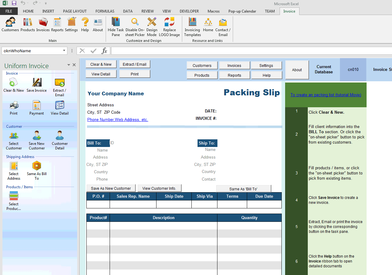 Template of packing list for trade export import