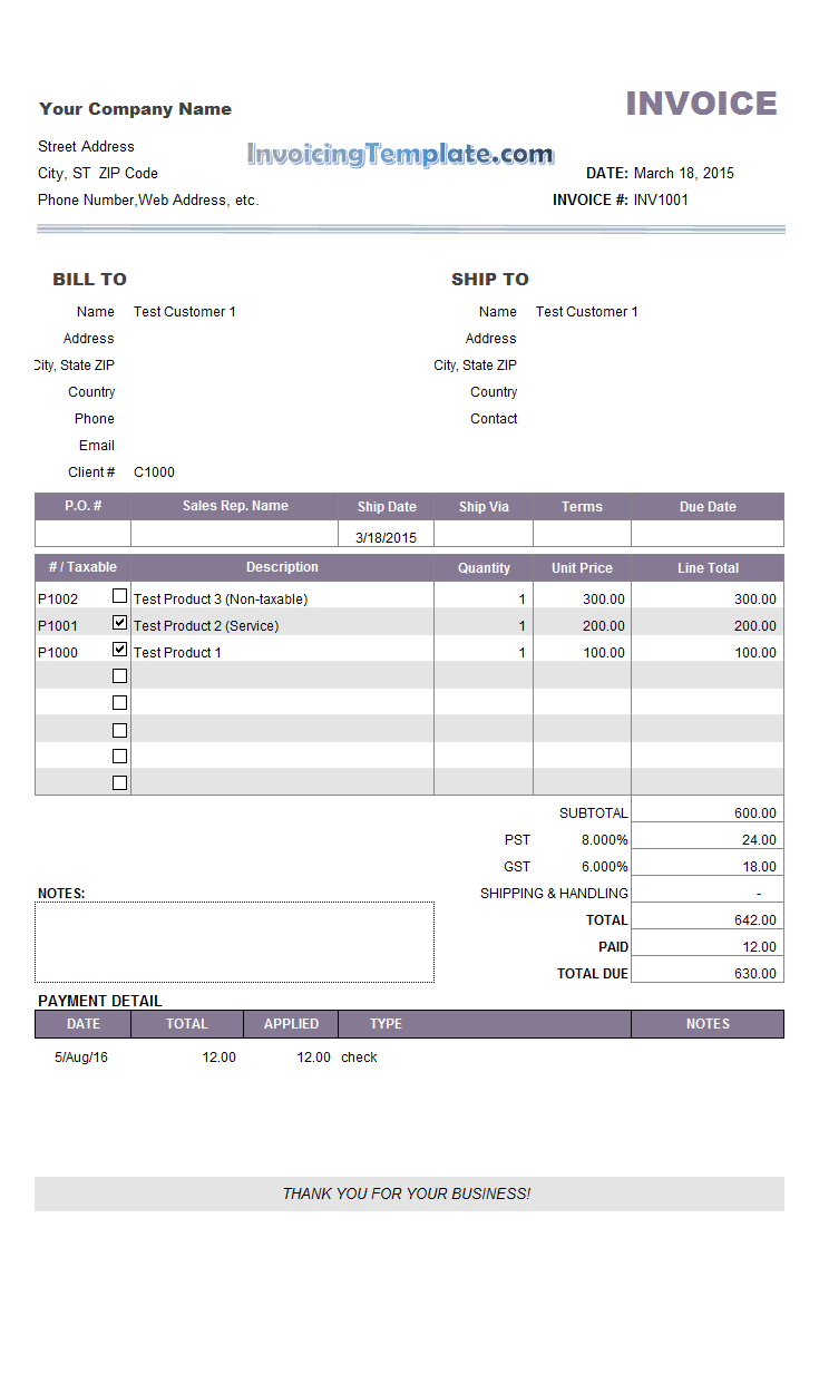 partial payment invoice template  Invoice Sample with Partial Payment and Payment History
