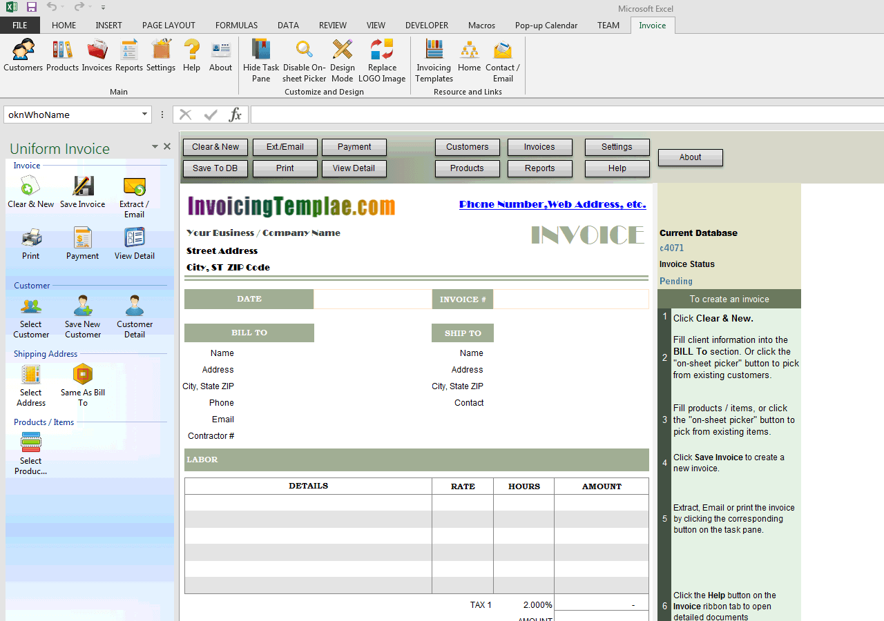 parts and labor invoicing format