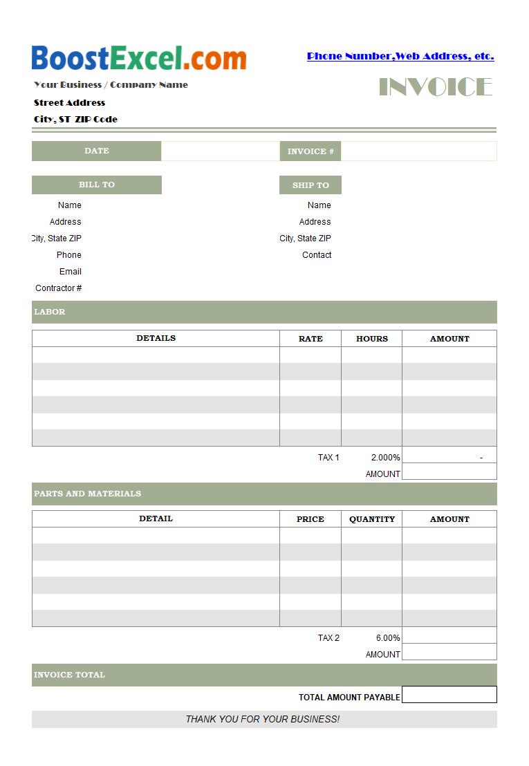 Labor Invoicing Sample
