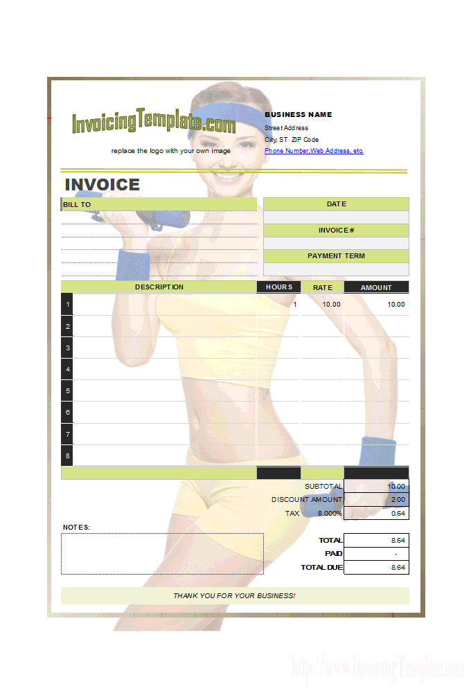Invoice Design for Personal Trainer or Fitness Instructor