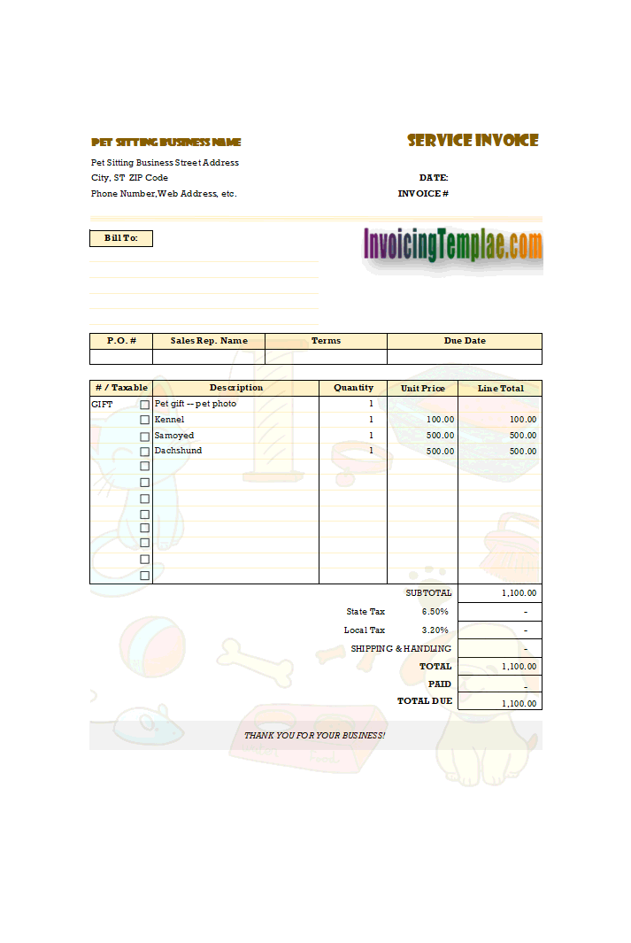 pet sitting invoice sample