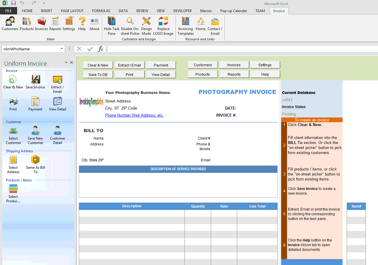 Photography Invoicing Template (General) (UIS Edition)