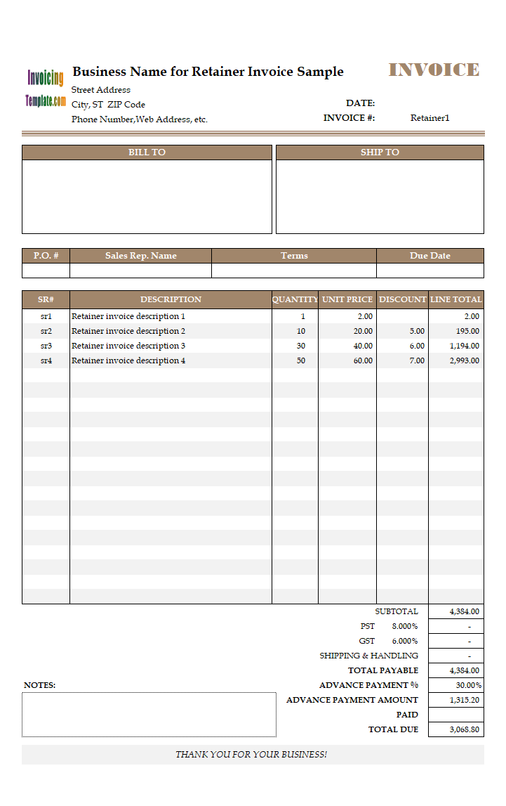 Retainer Invoicing Sample