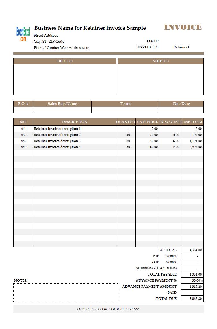 auto parts invoice template  Auto Parts Invoice