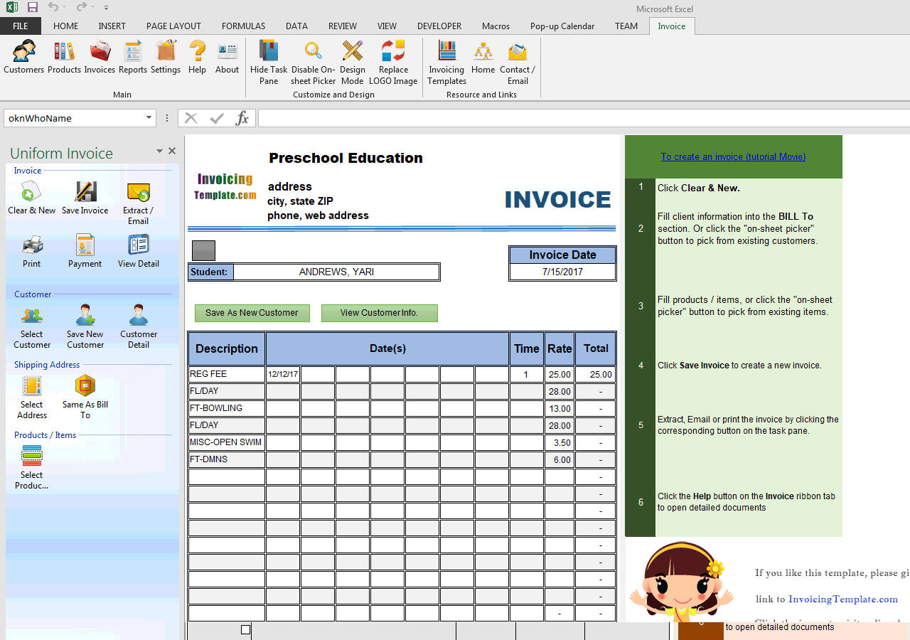 Preschool Education Invoice Template