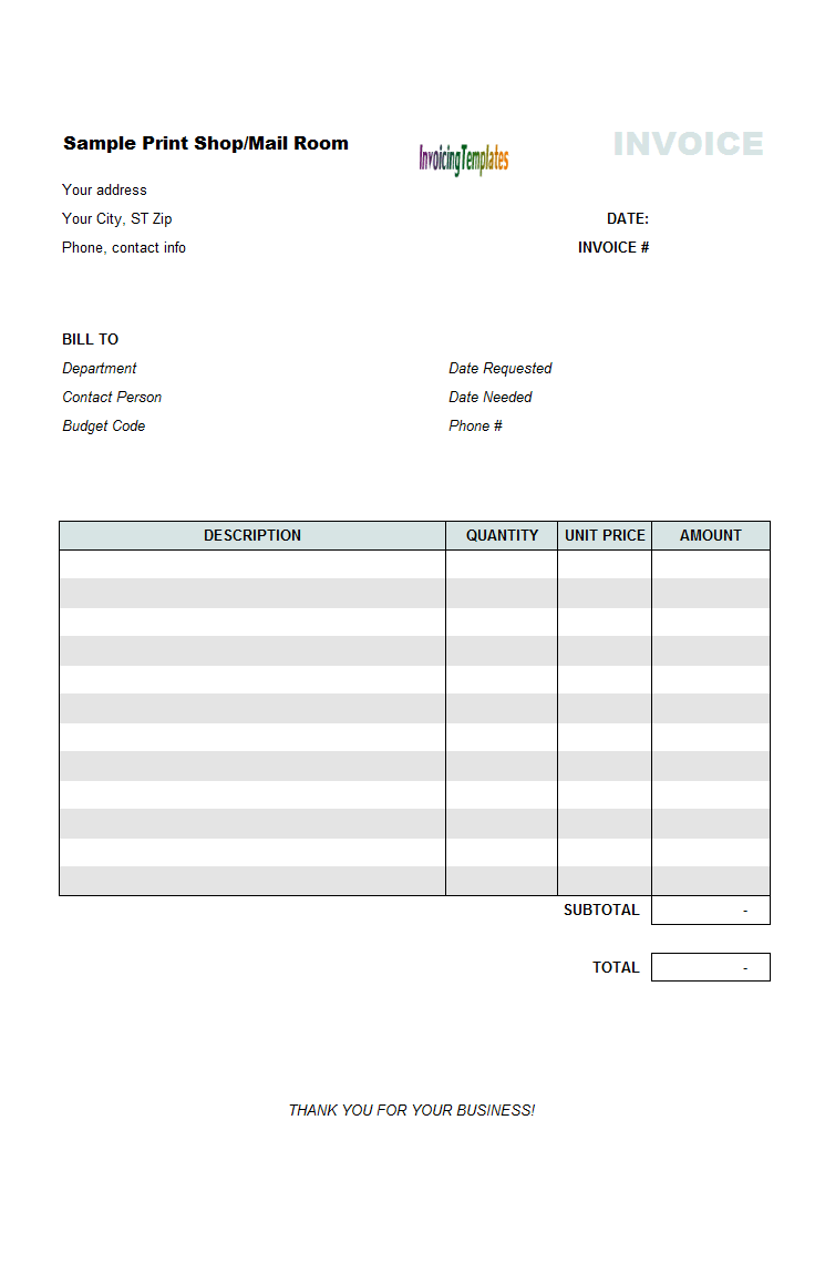 Print Shop Bill Sample - Blank commercial invoice template best online wine store