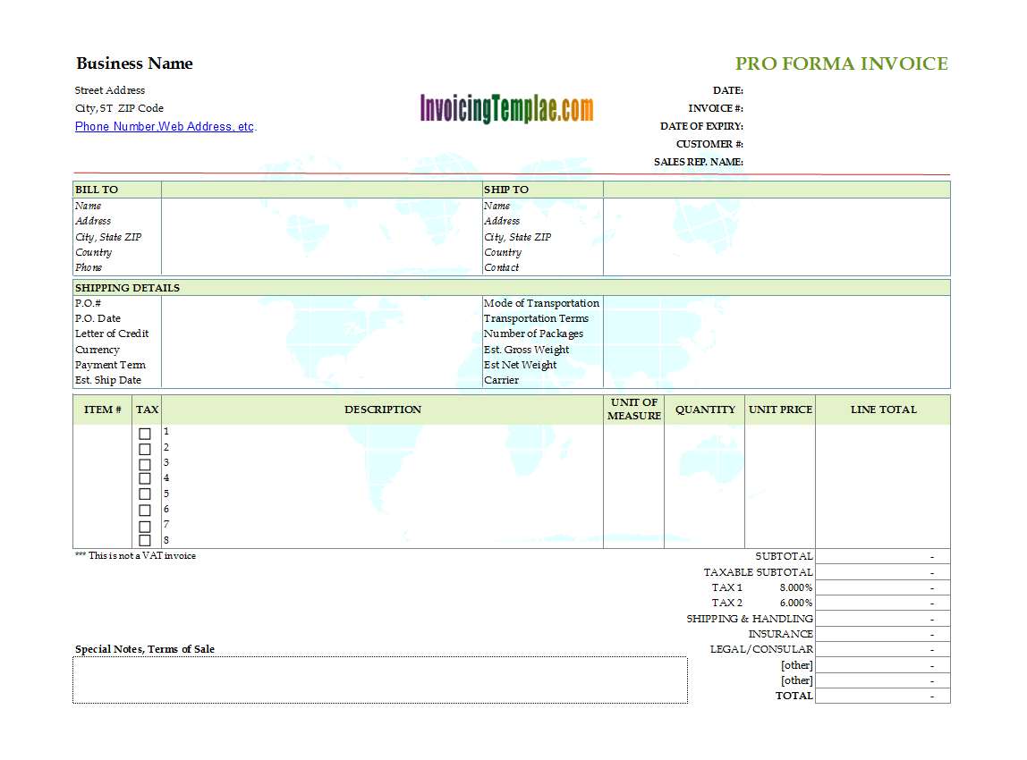 Pro-Forma Invoice with Printable Earth Map Background