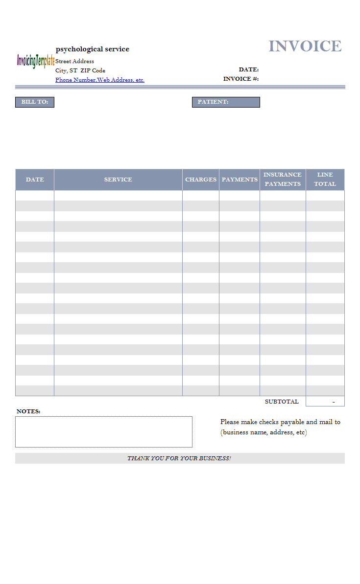 Psychologist Billing Format