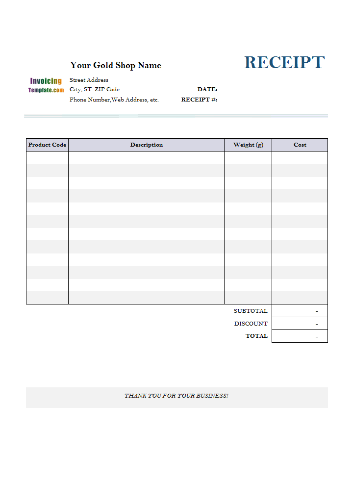 Jewelry Receipt Template - Free invoice template for word 2010 dress stores online