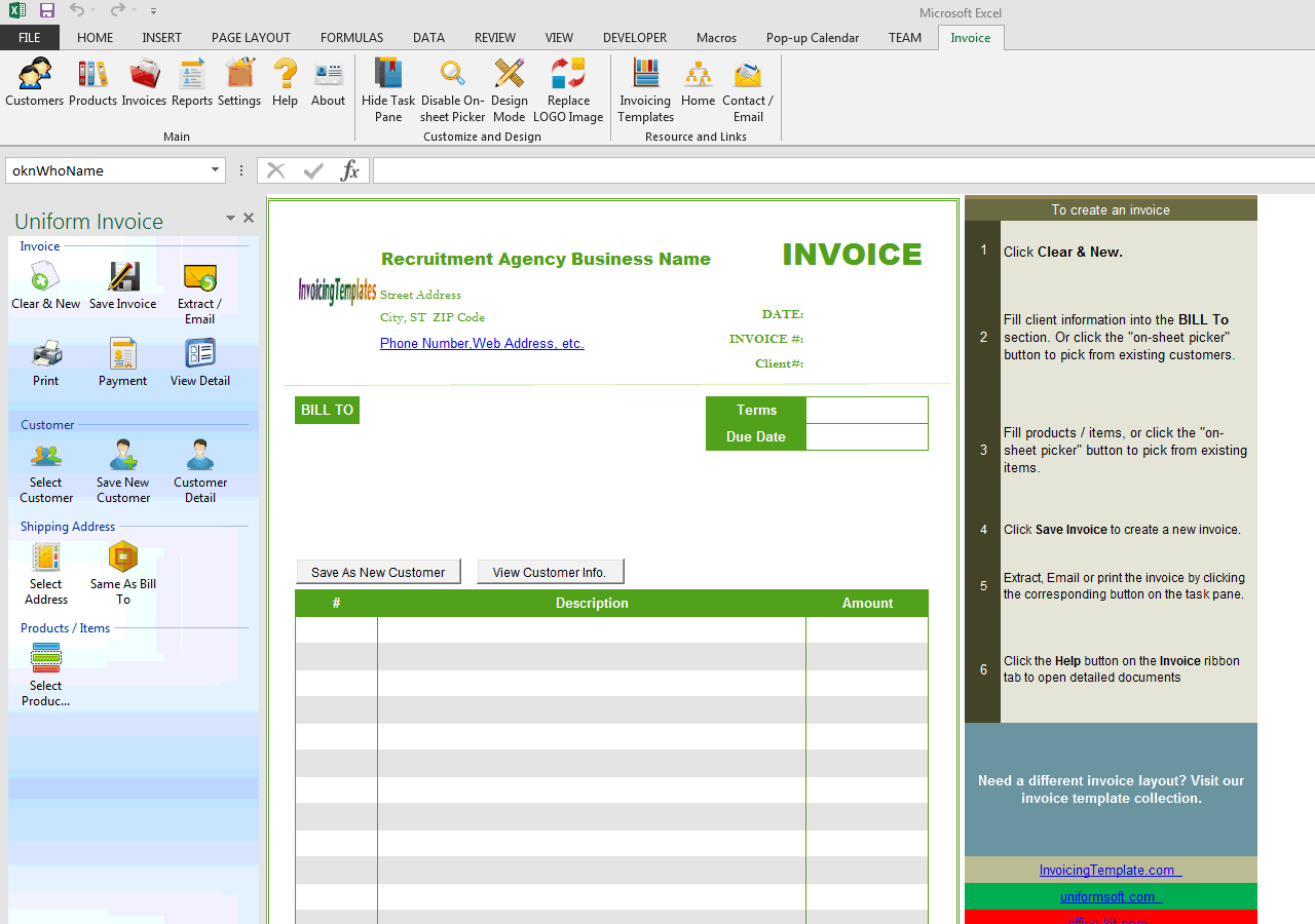 recruiting database template - recruitment agency invoice template