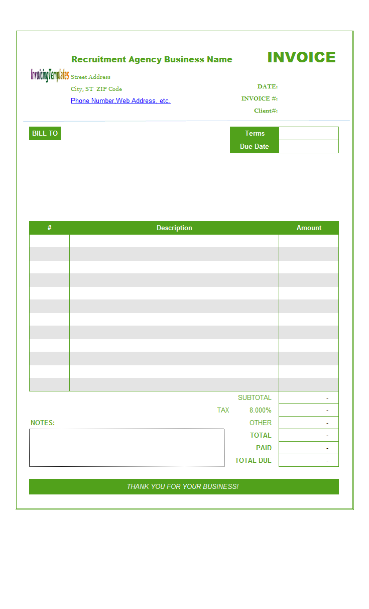 Recruitment Agency Invoice Template