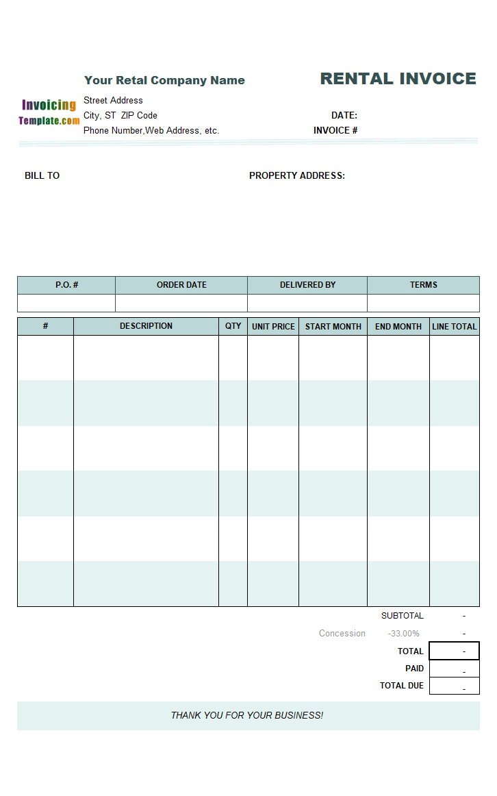 Rental Invoicing Template – Invoice for Rent