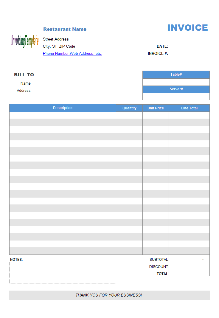 restaurant dining invoice template no tax