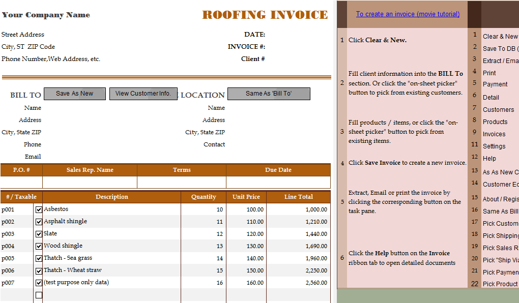 Bill Format for Roofing Service