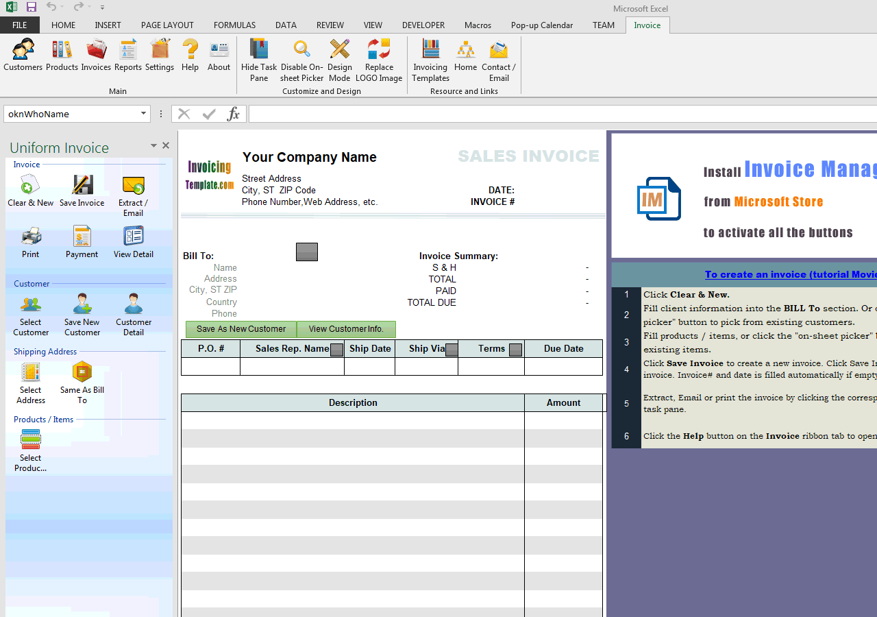 Sales Invoice with Total on Top (2 Columns) (IMFE Edition)