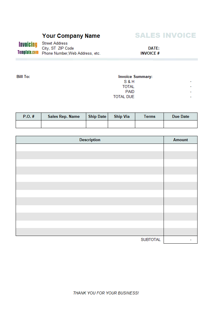 Thumbnail for Sales Invoice with Total on Top (2 Columns)