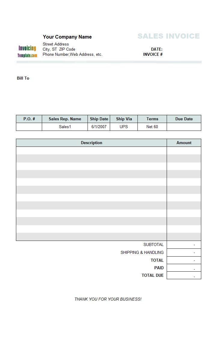 Thumbnail for Sales Invoice (2 Columns, without Shipping)