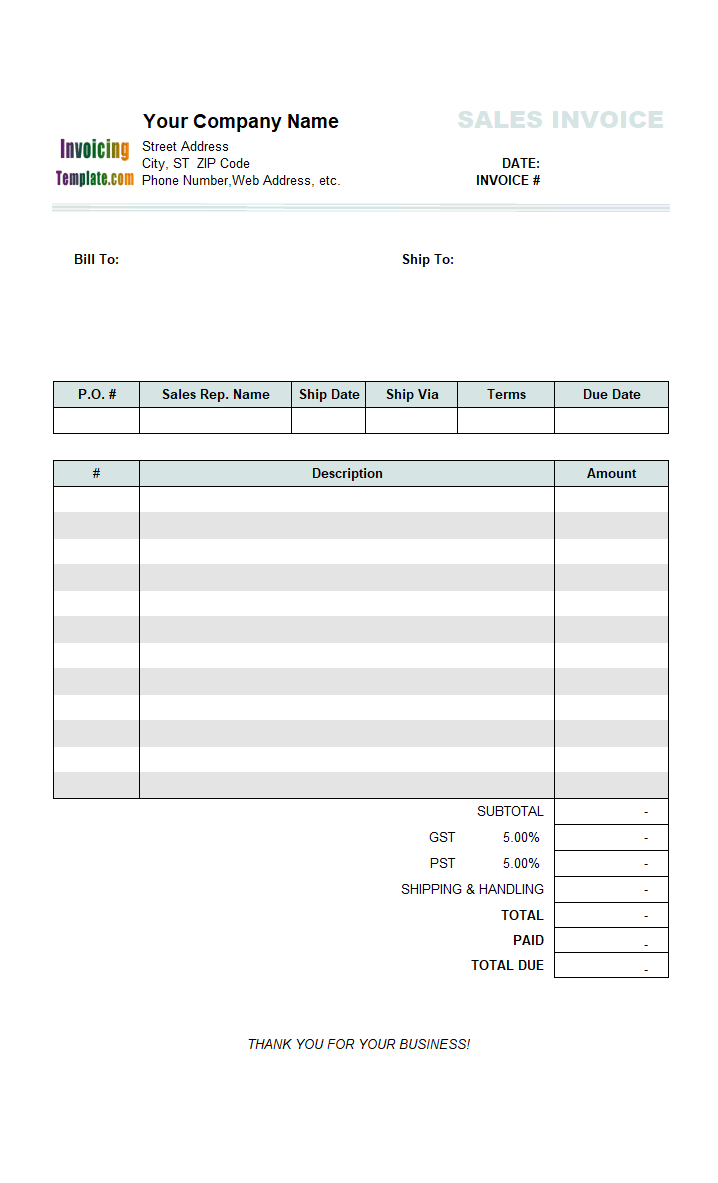 Thumbnail for Sales Invoice (3 Columns, 2 Taxes)