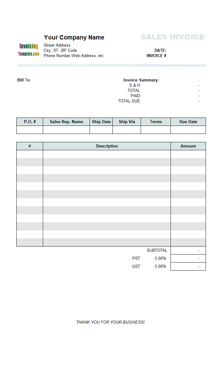 Thumbnail for Sales Invoice with Total on Top (3 Columns)