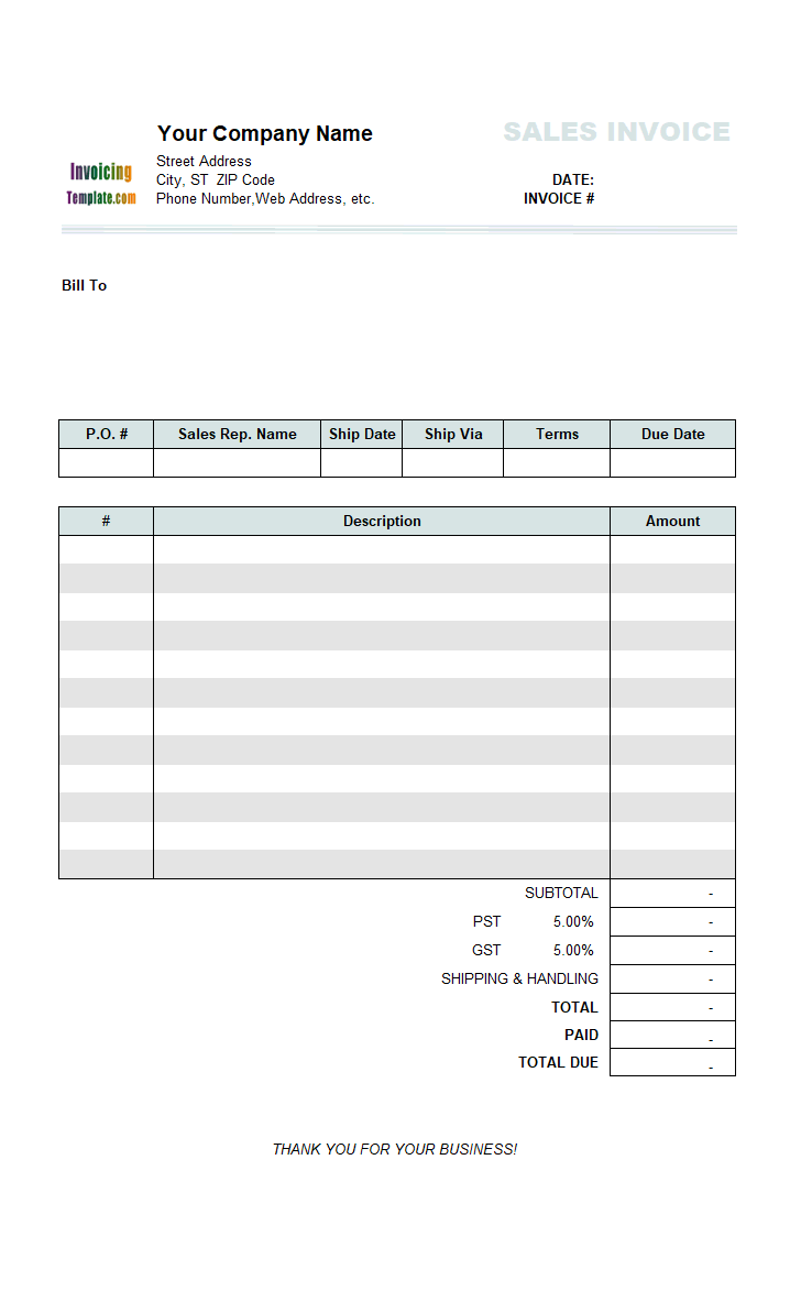 Thumbnail for Sales Invoice (3 Columns, without Shipping)