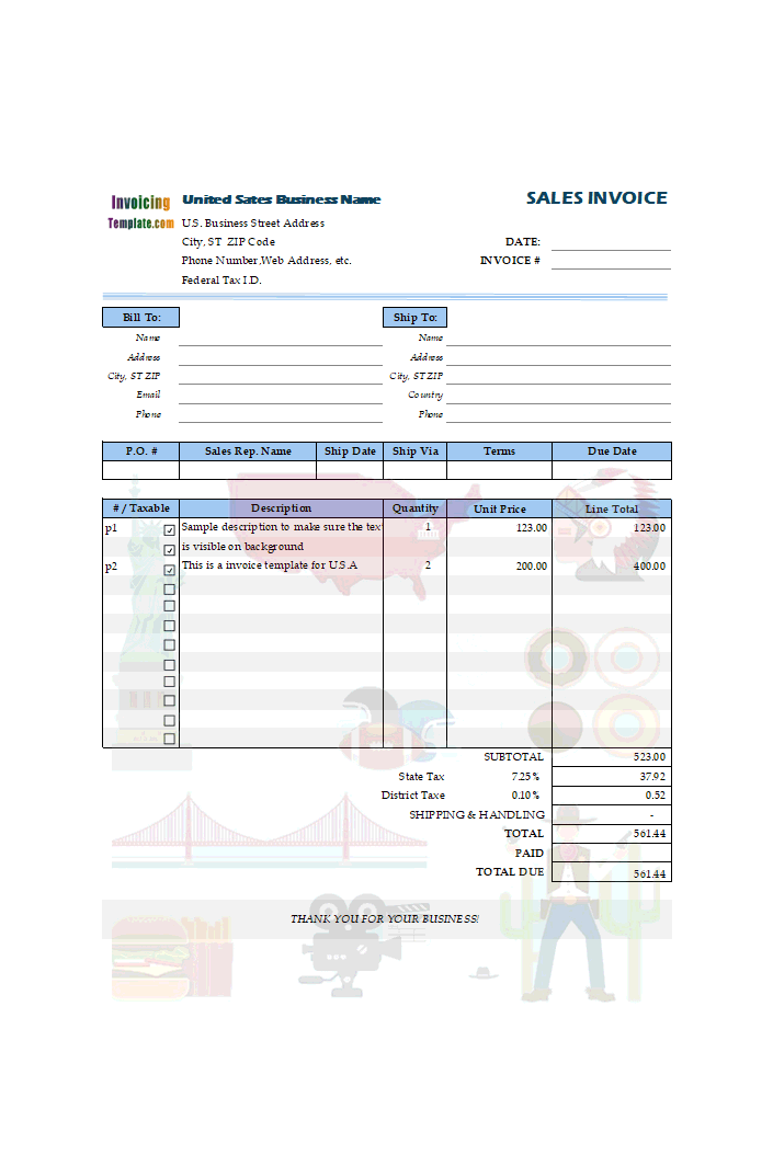 Sales Invoice Form in Excel for United States