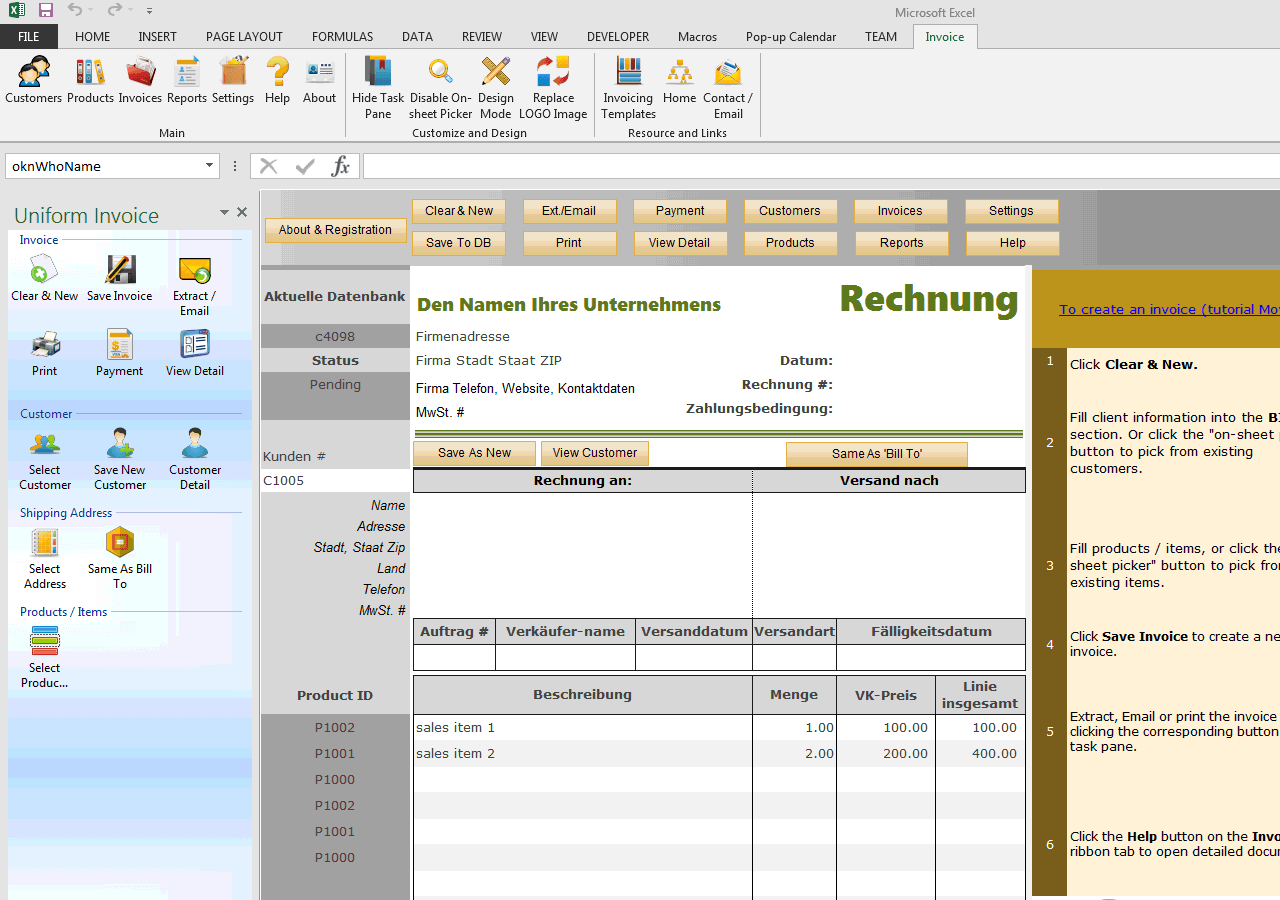 Sales Invoicing Format for Germany (UIS Edition)